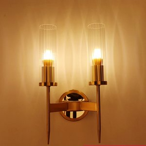 JUSHENG LED Modern Wall Lamp Sconce Glass Wall Mirror Vanity Light Fixtures with E27 Bulb For Bedroom Living Room Gold
