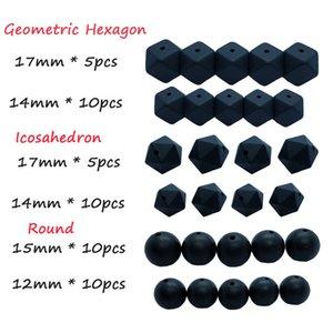 50pcs Fare borda il braccialetto in silicone nero fai da te Teether Set Hexagon rotonda Icosahedron alimentari Beads qualità collana