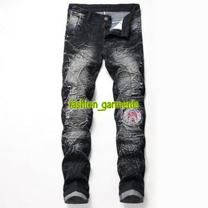 2019 Yeni Erkek Vintage Motosiklet Jeans Erkek stilist Pantolon Erkek Elastik Delik Rozet Kişiselleştirilmiş Pantolon Erkek Moda Jeans İki Renkler