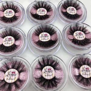 Mikiwi 25mm Mink Eyelashes 20 30 50 Wholesale 3D Mink Lashes round case custom packaging Label Makeup Free Logo Long Lashes