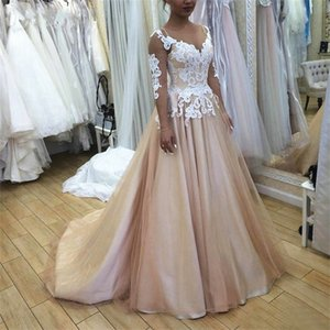 Champagne Tulle Flower Pattern Appliqued Lace Colorful Wedding Dresses Illusion Long Sleeve Sheer Neck A Line Bridal Gowns Vestidos De Noiva