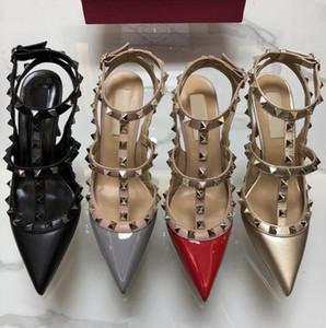 2019 лакированная кожа женщины шпильки острым носом две лодыжки пряжки дамы сексуальные заклепки высокие каблуки неоновые цвета туфли