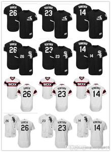 Sipariş üzerine Erkekler kadınlar gençlik Majestic beyaz Sox Jersey # 23 Robin Ventura 14 Paul Konerko 26 Avisail Garcia Ev Siyah Çocuklar Beyzbol Formalar
