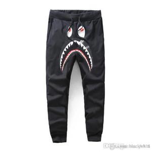 2020 Pantalones Negro Gris Shark de los hombres de moda los pantalones Harem Otoño Invierno Fleece deportiva pantalones largos del basculador Correr Sweatpant