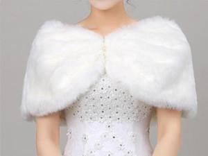 Mantón nupcial de marfil / blanca piel de imitación de las damas de honor del cabo de la chaqueta vestido de noche de bodas la estola del abrigo