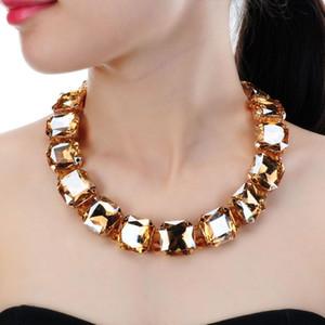 Jerollin Mode Bijoux en or de la chaîne 5 couleurs carrée Lunettes Chunky Choker Collier tendance Bib pour les femmes