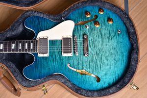 Custom Memphis 335 Semi Hollow Body Figured Aquamarine Green Jazz Electric Guitar Flame Maple Top & Side & Back, Block Inlay, Double F Holes