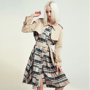 Longqibao Qualitäts-Frauen Plissee Druck Personality Stitching Mittellange Windjacke mit Gürtel Damenkleidung