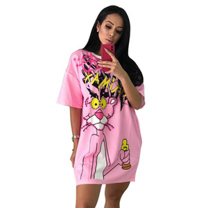 New Pink Panther Printed Fashion Beading T Shirt Dress Summer O Neck Short Sleeve Loose Casual Short Dress Women street wear Oversize Tops