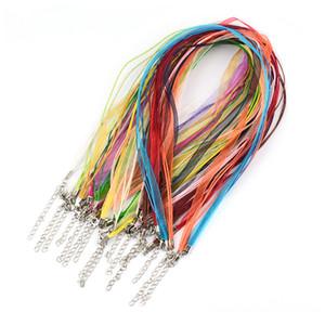 """100pcs 18"""" del nastro del Organza collana Strap Cords Catena Cord Gioielli che fanno DIY Colorful Voile String catenaccio Cera"""