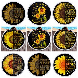 Round Beach Towel Sunflower Printed Picnic Rugs Tassel Yoga Mat Polyester Table Cloth Beach Shawl Blankets 14 Designs DW5310