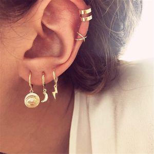5PCS / 세트 클립 귀걸이 여성 골드 기하학적 귀 커프 없음 피어싱 가짜 연골 귀걸이 여성 Earcuff 쥬얼리 Accesorios