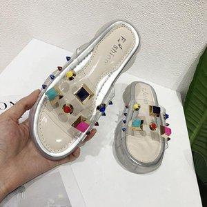 Luxury Designer Women Shoes Designers Slippers Transparent color rivet Platform Slide Lady Flip Flops Studded Anti-skid Thick Bottom fashion