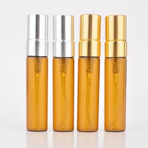 Perfume color ámbar de 5ml de vidrio marrón atomizador de pulverización de botella rellenable envase cosmético recargable Agua