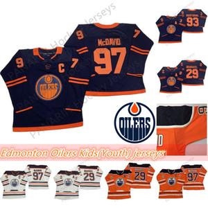 Edmonton Oilers niños (juventud) jerseys 97 Connor McDavid Jersey 29 Leon Draisaitl 93 Ryan Nugent-Hopkins transpirable jerseys del hockey