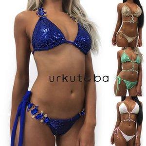 Costume da bagno donna in cristallo con imbottitura push-up imbottita Costumi da bagno costume da bagno Urkutoba