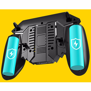 AK77 Cooling Fan PUBG Game Controller Gamepad Six Finger Trigger Shooting Joystick Gamepad For IO Android Mobile Phone 1200 mAh