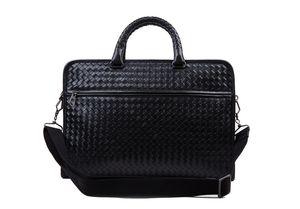 HJKL bolso de cuero genuino cuero de vaca maletín de negocios de alta calidad de la computadora mensajero bolsas de tejido