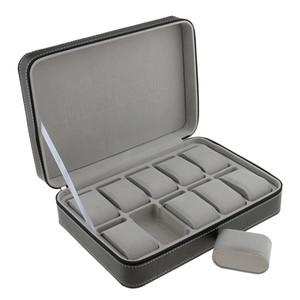 Phenovo Guarda caso per il 10 slot di viaggio Valigetta cuoio di disegno grandi scomparti con chiusura a cerniera Jewelry Packaging display