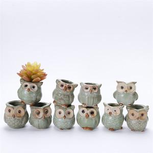 Botânica vaso de flores Mini Potenciômetros Suculentas Criativas Animal Coruja Série Cerâmica Bacia Ornamento Venda Direta Da Fábrica 2 6fy p1
