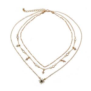 2020 Bohomian mehrschichtige Halskette neueste Art und Weise Halsketten-Kristallstern-Anhänger Kette goldene Farbe Frauen Schmuck