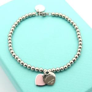 La vendita calda S925 Sterling Silver Bracciale perle a catena con smalto cuore verde e rosa per le donne e gioielli regalo di giorno della madre