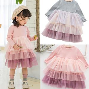 NEUE Mädchen-Kleidung Kleider Kinder Boutique 3 Ebenen Mesh-Patchwork Kleid Mädchen elegant Sring Fall Langarm Kleid Weihnachtsmädchen-Ballkleid M340