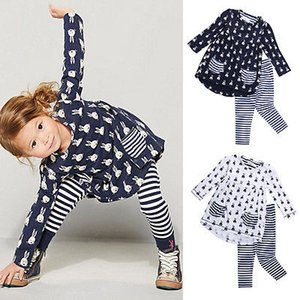 New Kids Baby Girls Cartoon Imprimé Robe chemise à rayures Leggings Pantalon 2PCS Set Tenues vêtements mignons Casual