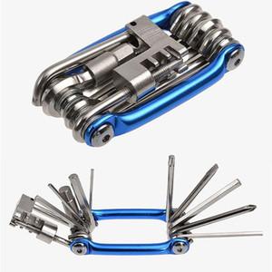 11 En 1 bicicletas plegables de reparación de neumáticos Kit de herramientas multiusos de la llave de bicicletas destornillador cadena cortador ciclismo Herramientas Set Accesorios