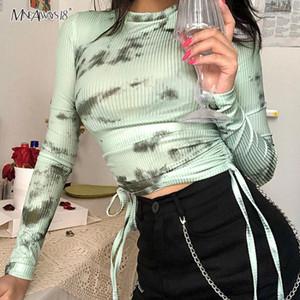 Mnealways18 Tie Dye camiseta de manga larga Mujeres camiseta atractiva de algodón ajustado de Streetwear Crop Top O Cuello con cordón suéter 2020