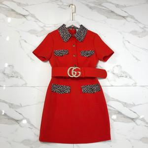 Designer 2020 leopardo rosso Sashes stampa del vestito della pista di Milano del risvolto del collo maniche lunghe Ricamo con le vacanze lungo vestito delle donne 031.810