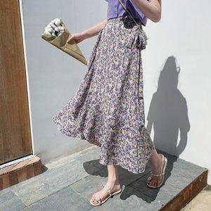 Korean version of the net red skirt female summer lace ruffled beach skirt irregular fishtail chiffon floral