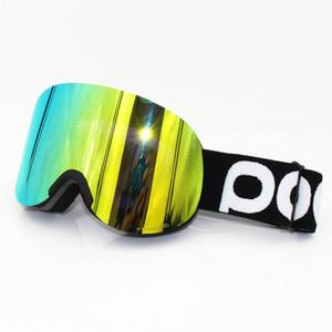 Con la caja original gafas de esquí tapa POC Marca las capas dobles de lentes anti-vaho gafas de esquí gran máscara de esquiar hombres mujeres snowboard Claridad Retina