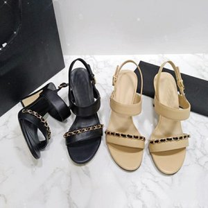 Designer's new chain-strap sandals, chunky heels, wedding party shoes, sizes 34-40, box and dust-bag,