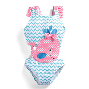 New 2019 Cute Cartoon Kids Swimwear One-piece Girls Swimsuit Kids Swim Suits Girls Summer Bikini Kids Bathing Suits Child Sets Beachwear Z11