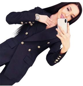 Mvgirlru Chic Frau Hose passt Büro Dame Sets zweireihig gefüttert Blazer Jacke Hose 2 Stück Set weibliche Q190510