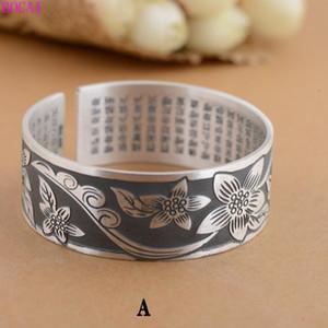 braccialetto opaco di S999 silverwomen puro retrò Thai artigianale in argento femminile fiore in fiore nuovo classico gioielli braccialetto 2020