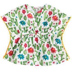Çocuklar Bebek Kız Tek Parça örtbas Elbise Kaktüs Plaj Sundress CottonLinen Bikini Yaz Sevimli Prenses Mayo Mayo