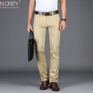 NIGRITY 2019 Spring New Mens Business Casual Pant Fashion Trousers Straight Elastic Fabric Basic classic Male Fashion size 28-42