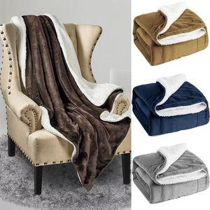 New Sherpa Fleece Blanket Twin Double Layer Plush Throw Coperta Soft Microfiber Bed Soft Blanket 130 * 160cm 4 Colori Regali di Natale WX9-1210