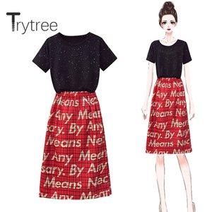 Trytree 2020 mujeres del verano de dos piezas del sistema Casual O-cuello de la estrella Negro tapas de la camiseta + falda Carta de una línea de la cintura elástico de juego de piezas 2