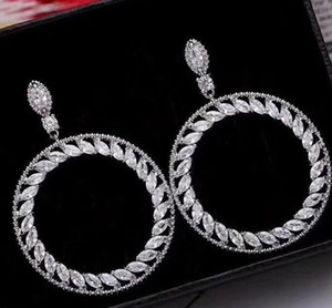 Moda CZ Gota Para Mulheres Diamante 925 oco 5A Brinco de prata Sterling Engagement Dangle brincos de argola Zircon nupcial do casamento G Veql
