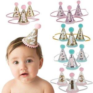 Дети волос Украсьте Первый день рождения партии шлемов младенца диапазона волос Shoot Prop Принцесса корону именинницы Hat Baby Girl торт Smash dc202