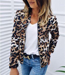 Estilo de las mujeres calientes de las chaquetas de moda del leopardo con paneles delgados de las chaquetas de manga larga ocasional con la capa de la cremallera de las chaquetas para mujer