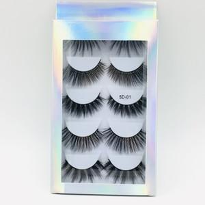 Nouvelle arrivée 5 paires de vison faux cils ensemble boîte d'emballage laser à la main faux cils réutilisable accessoires maquillage pour les yeux expédition de baisse