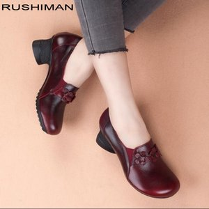 RUSHIMAN Vintage Flat Shoes Women 2018 Genuine Leather Soft Ballet Flats comfortable Casual Autumn Pregnant Women Shoes