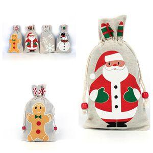 горячие рождественские подарки Drawstring сумка Санта-Клаус Снежинка SnowmanChristmas украшения Рождество подарочные пакеты Праздничные T2I5372