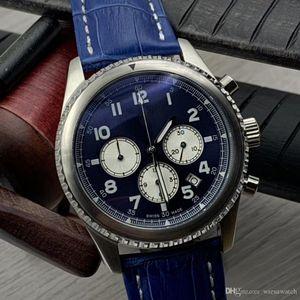 Pelle limitata Alligator Aviator Banda 8 B01 luminoso di contrapposizione Quadrante Blu uomo Orologi mani seconda quarzo orologio cronografo da polso