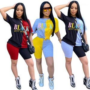 Tracksuits Letter Printed Two Piece Shorts Contrast Color Panelled Short Sleeve Tops Above Knee Length Shorts Sets Women Summer