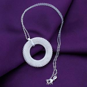 Cadeia 925 colar de prata Fazer a ligação Cobra Para Mulheres moda pingente bonito simples malha Círculo ninho colar de jóias presente de casamento do partido